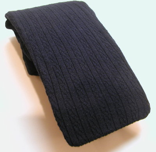 Girls Tights - Navy Blue Heavy Cotton Cable Knit Size 10 - 14