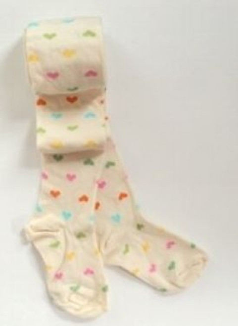 Children's print tights hearts