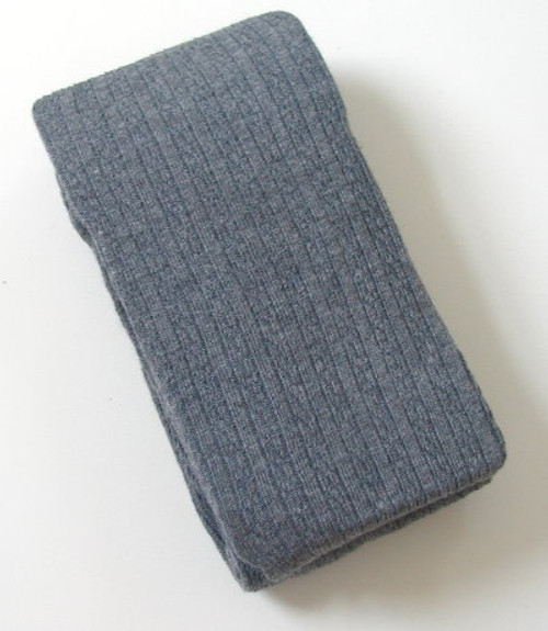 Girls Tights - Gray Heavy Cotton Cable Knit Size 8 - 10