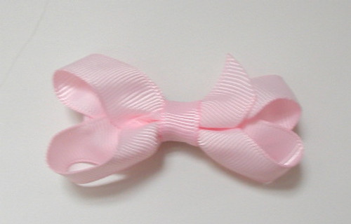 Girls Hair Accessory - Lt Pink Gross Grain Bow 6 Pieces