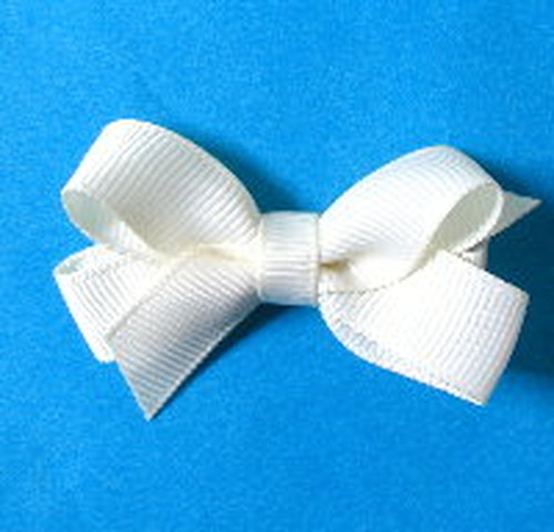 Ivory or off white girls hair bow gross grain