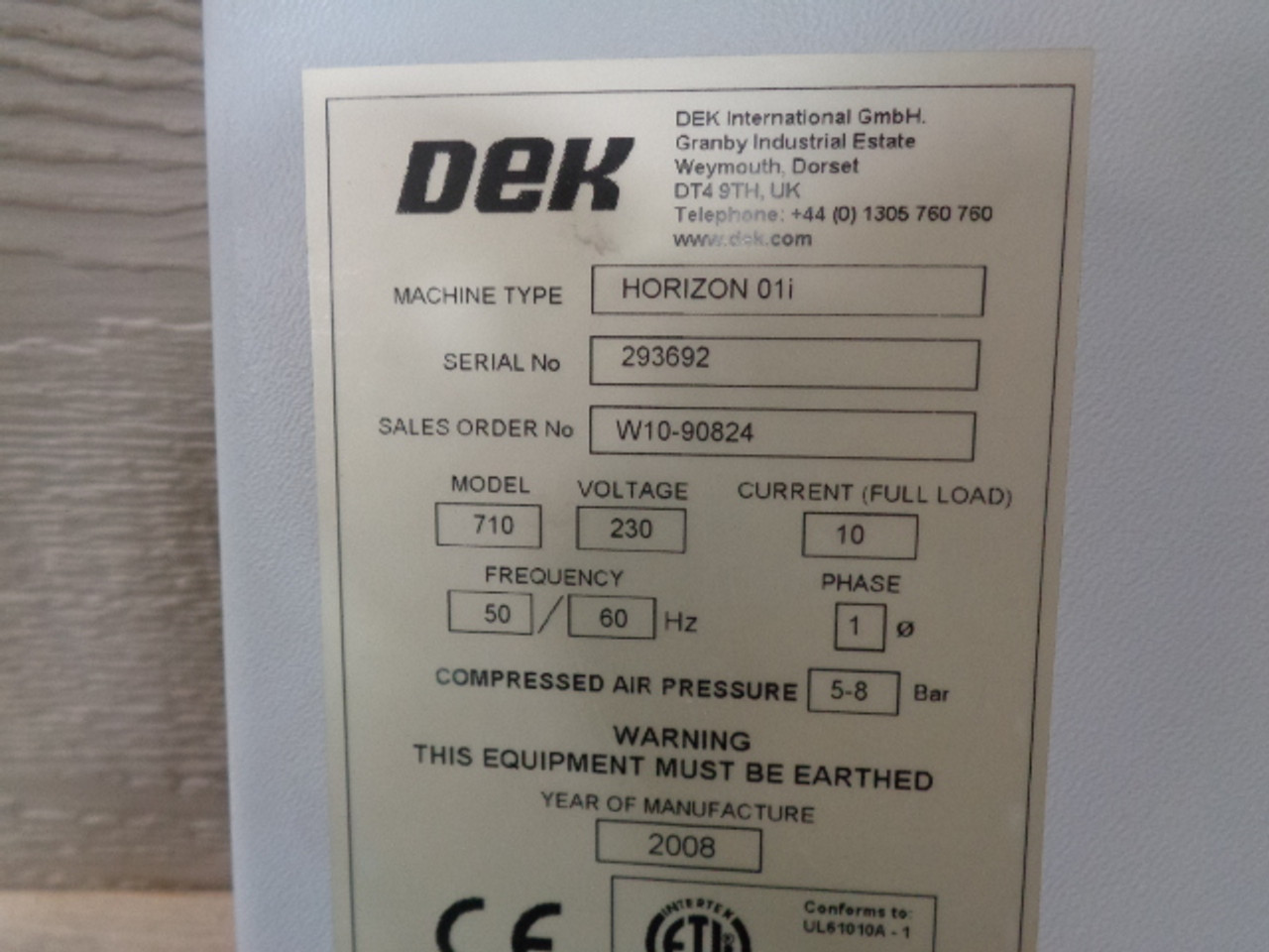 DEK Horizon 01i Screen Printer (160825)