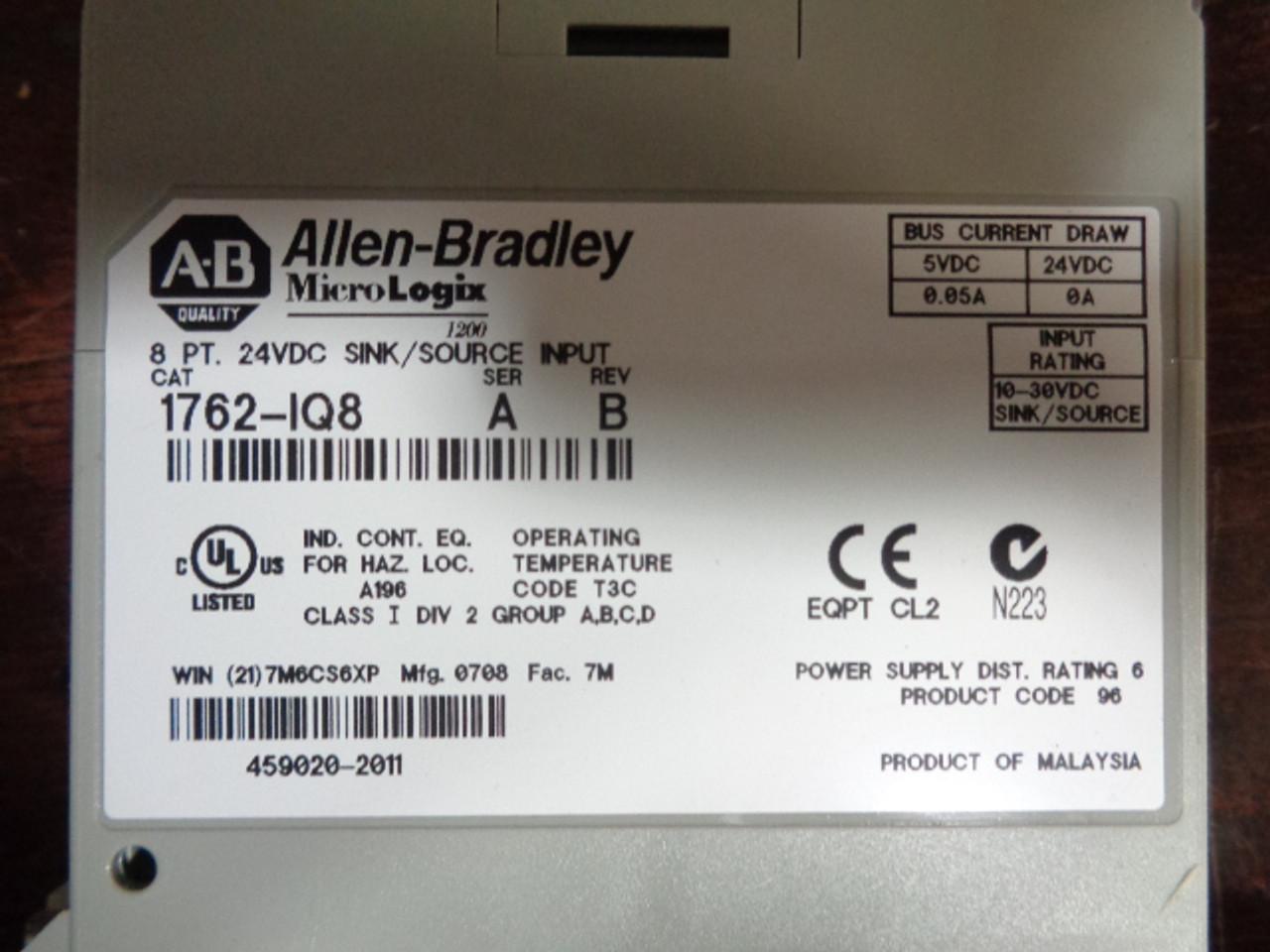 Allen Bradley 1762-IQ8 Micrologix 1200 PLC 8pt, 24VDC, Series A Rev B2