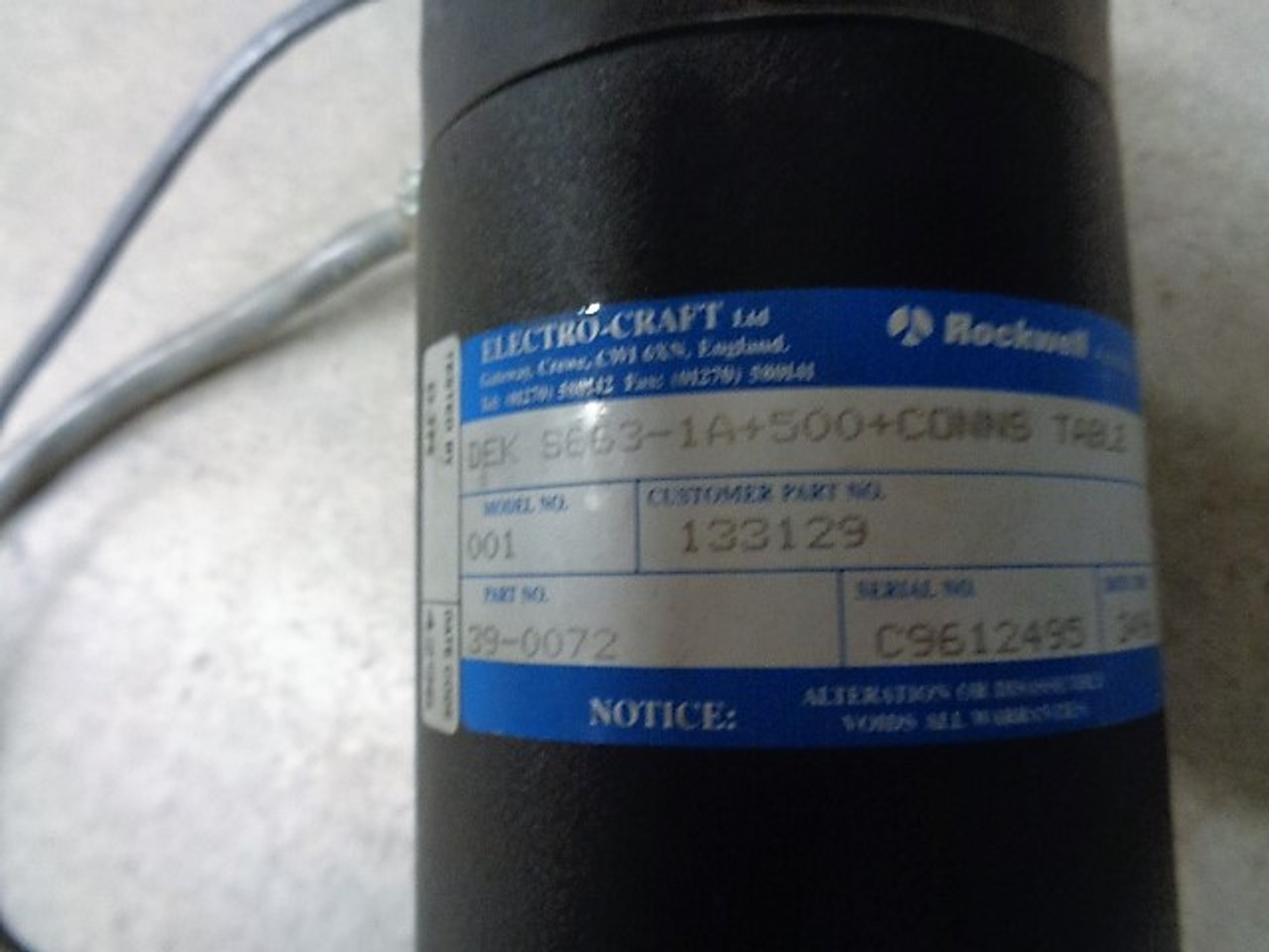 Electro-Craft DEK S663-1A DEK, Electro-craft, Rockwell Automation DEK  S663-1A+500+CONNS TABLE Motor, Customer Part# 133129