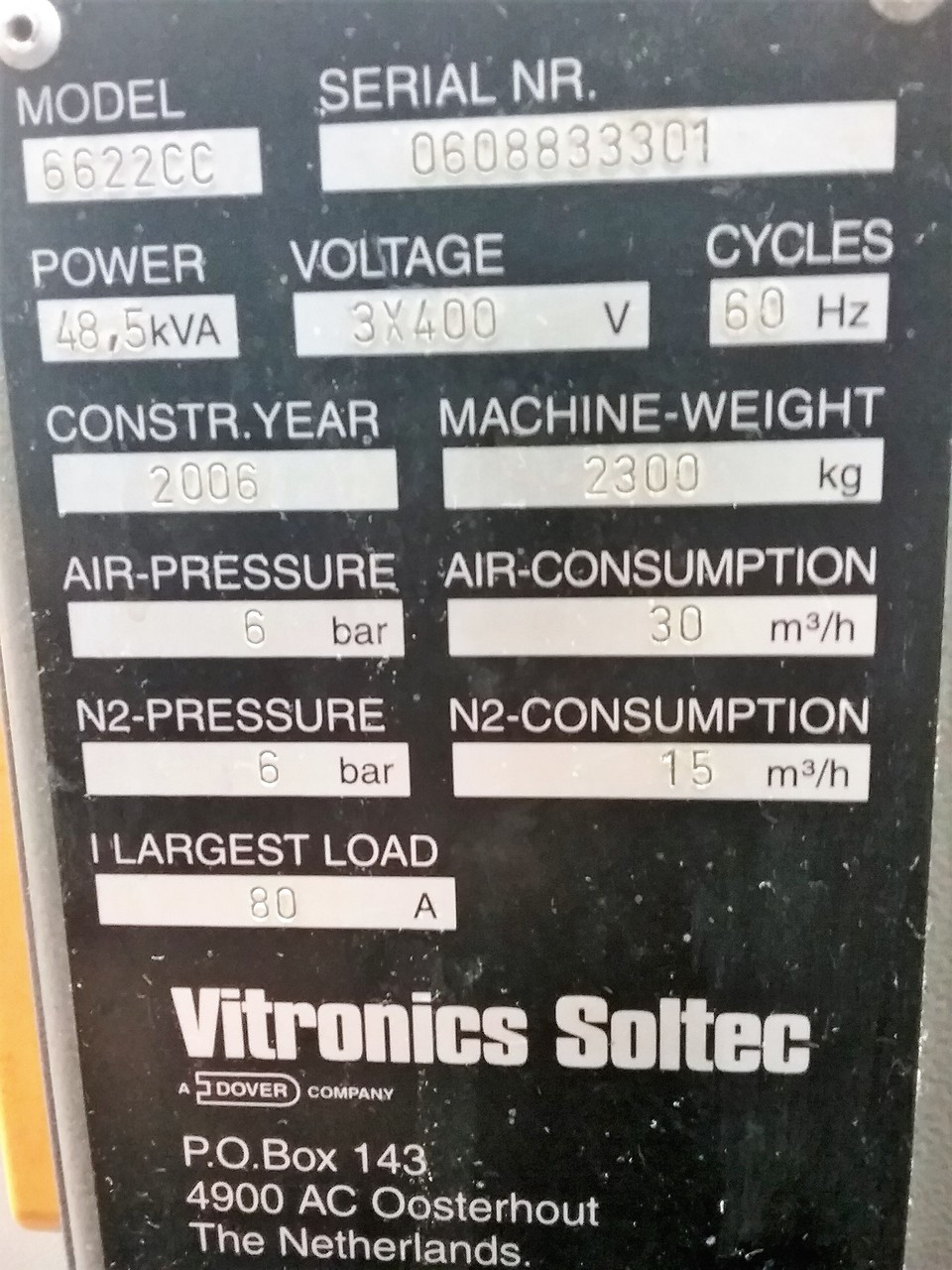 Vitronics 6622CC Wave Solder Machine (C160428)5