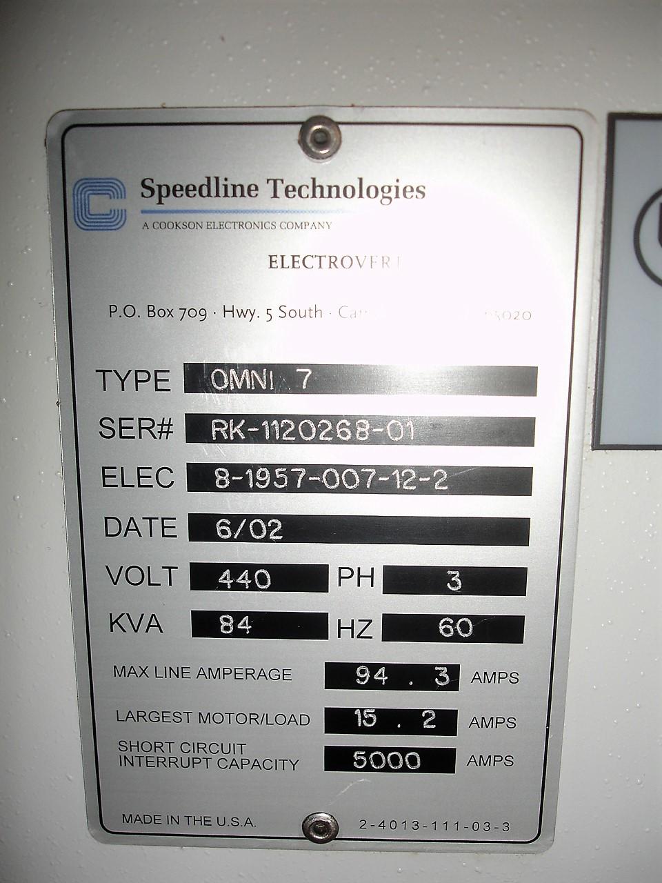 Speedline - Electrovert Omni 7 Reflow Oven2