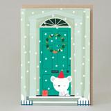 Polar Bear Door Christmas Card