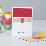'Ho Ho Ho' Santa Face Christmas Card