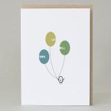 Bean Man 'Get Well Balloons' Card