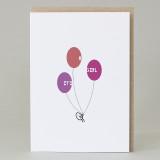 Bean Man 'Girl Balloons' Card