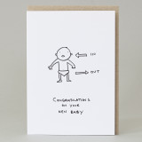 'In/Out Baby' Card (Pack of 6)