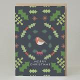 Robin and Holly Christmas Card