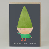Waving Elf Christmas Card