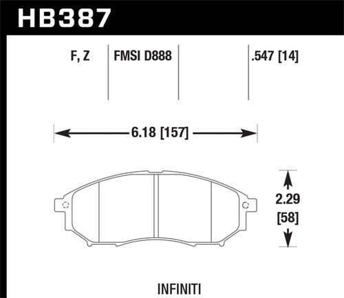 Hawk 06-09 350z/ 05-08 G35 without Brembo Performance Ceramic Street Front Brake Pads