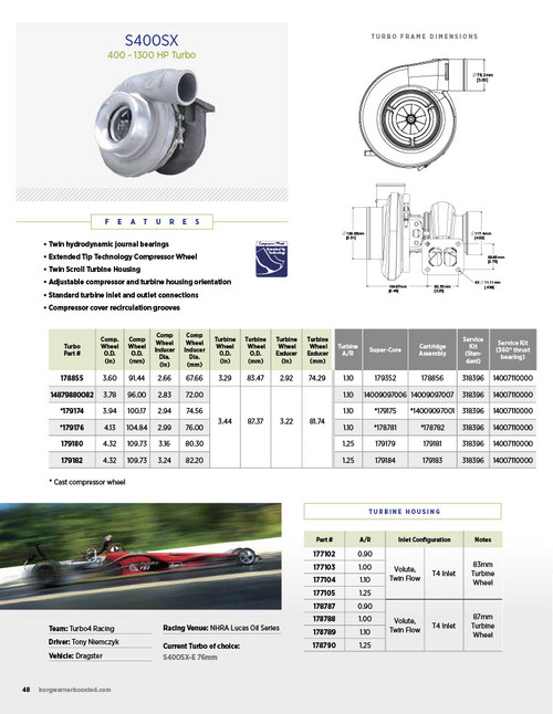 Borg Warner AirWerks S400SX Turbocharger
