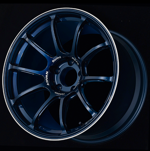 Advan RZ-F2 18x9.5 +12 5-114.3 Racing Titanium Blue and Ring Wheel