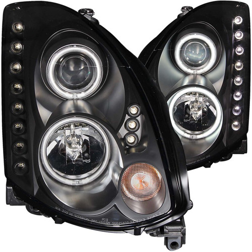 ANZO 2003-2007 Infiniti G35 Projector Headlights w/ Halo Black (CCFL) (HID Compatible)