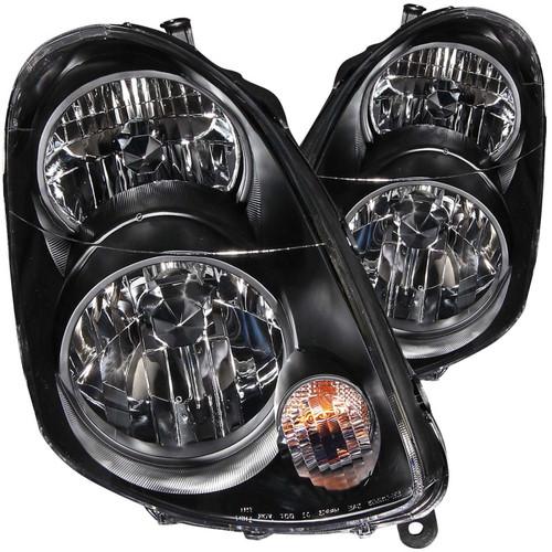ANZO 2003-2004 Infiniti G35 Crystal Headlights Black