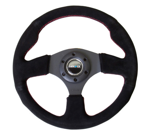 NRG Reinforced Steering Wheel (320mm) Suede w/Red Stitch
