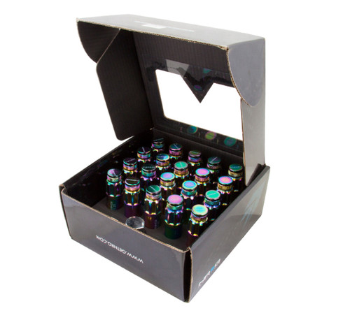 NRG 700 Series M12 X 1.25 Steel Lug Nut w/Dust Cap Cover Set 21 Pc w/Locks & Lock Socket - Neochrome