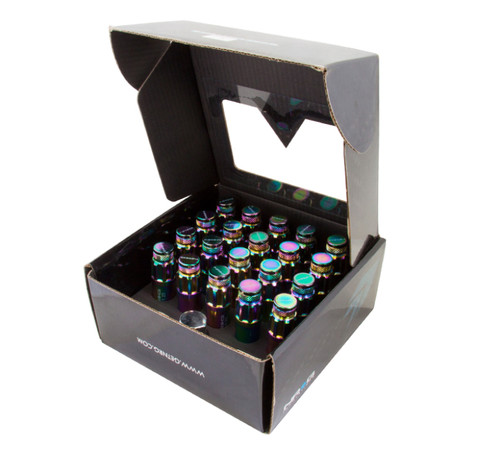 NRG 700 Series M12 X 1.5 Steel Lug Nut w/Dust Cap Cover Set 21 Pc w/Locks & Lock Socket - Neochrome