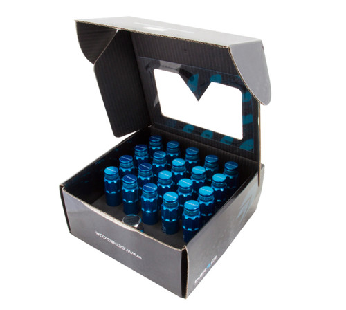 NRG 700 Series M12 X 1.25 Steel Lug Nut w/Dust Cap Cover Set 21 Pc w/Locks & Lock Socket - Blue