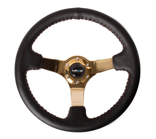 NRG Reinforced Steering Wheel (350mm / 3in. Deep) Blk Leather/Red BBall Stitch w/4mm Gold Spokes