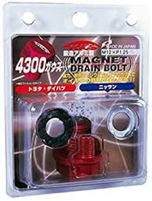 Project Kics Toyota/Daihatsu/Nissan Red Magnetic Drain Bolt - M12X1.25