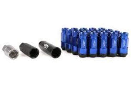 Project Kics Leggdura Racing Shell Type Lug Nut 53mm Open-End Look 16 Pcs + 4 Locks 12X1.25 Blue