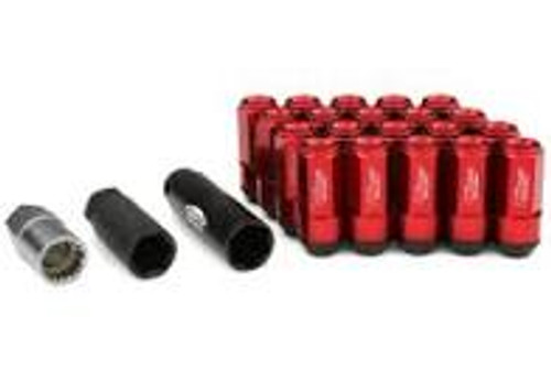 Project Kics Leggdura Racing Shell Type Lug Nut 53mm Open-End Look 16 Pcs + 4 Locks 12X1.25 Red