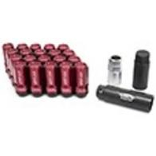 Project Kics Leggdura Racing Shell Type Lug Nut 53mm Closed-End Look 16 Pcs + 4 Locks 12X1.25 Red