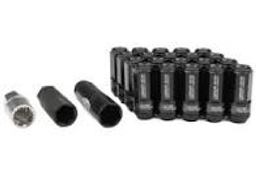 Project Kics Leggdura Racing Shell Type Lug Nut 53mm Open-End Look 16 Pcs + 4 Locks 12X1.5 Black