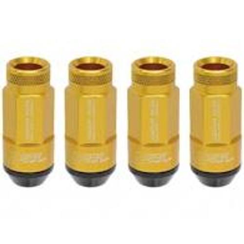 Project Kics Leggdura Racing Shell Type Lug Nut 53mm Open-End Look 16 Pcs + 4 Locks 12X1.25 Gold
