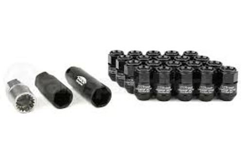 Project Kics Leggdura Racing Shell Type Lug Nut 35mm Closed-End Look 16 Pcs + 4 Locks 12X1.5 Black