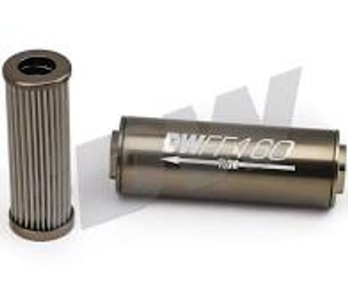 DeatschWerks Stainless Steel 8AN 100 Micron Universal Inline Fuel Filter Housing Kit (70mm)