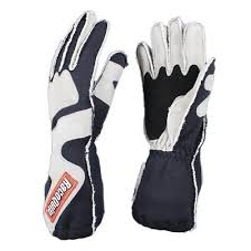 RaceQuip SFI-5 Gray/Black Medium Outseam w/ Closure Glove