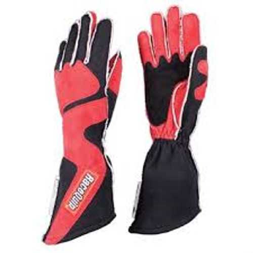 RaceQuip SFI-5 Red/Black Large Long Angle Cut Glove