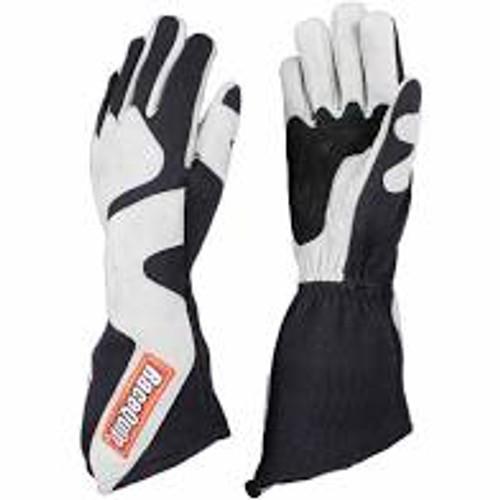 RaceQuip SFI-5 Gray/Black Medium Long Angle Cut Glove