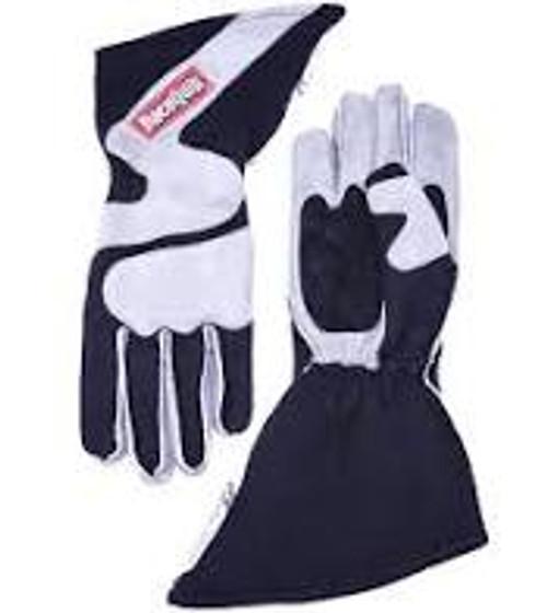 RaceQuip SFI-5 Gray/Black Small Outseam Angle Cut Glove