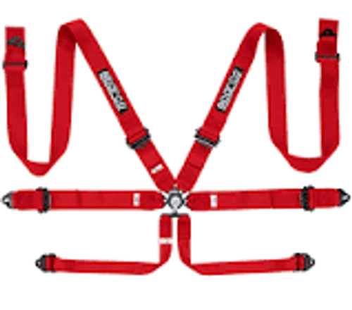 Sparco Belt 6pt 3in Aluminum Red
