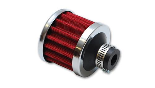 Vibrant Crankcase Breather Filter w/Chrome Cap 2 1/8in 55mm Cone ODx2 5/8in 68mm Tallx5/8in 15mm ID
