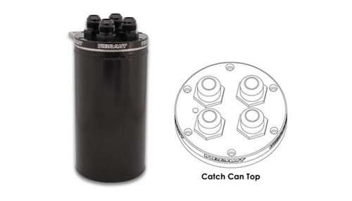 Vibrant 4in OD Universal Catch Can 2.0 w/ 4 Adapters Aluminum - Anodized Black