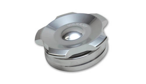Vibrant 2in OD Aluminum Weld Bungs w/ Polished Aluminum Threaded Cap (incl. O-Ring)