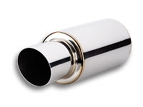 Vibrant TPV Turbo Round Muffler (17in Long) with 4in Round Tip Angle Cut - 3in inlet I.D.