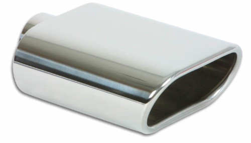 Vibrant 5.5in x 3in Oval SS Exhaust Tip (Single Wall Angle Cut Rolled Edge)