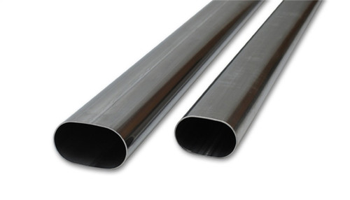 Vibrant 3in Oval (Nominal Size) T304 SS Straight Tubing (16 ga) - 5 foot length
