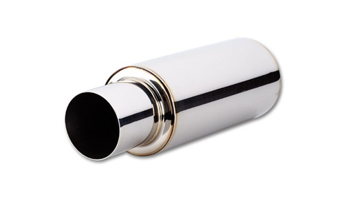 Vibrant TPV Round Muffler (23in Long) with 4in Round Tip Straight Cut - 2.5in inlet I.D.