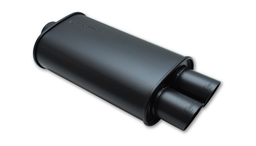 Vibrant StreetPower FLAT BLACK Oval Muffler with Dual 3in Outlet - 4in inlet I.D.