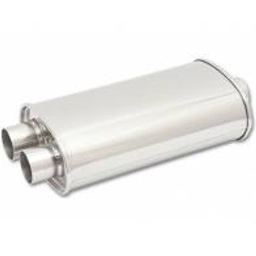 "Vibrant StreetPower Oval Muffler 5in x 9in x 15in - 3"" inlet/Dual Outlet (Center In - Dual Out)"