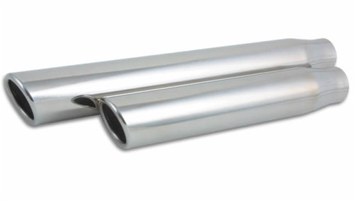 Vibrant 3.5in Round SS Truck/SUV Exh Tip (Single wall Angle Cut Rolled Edge) - 3in inlet 11in long